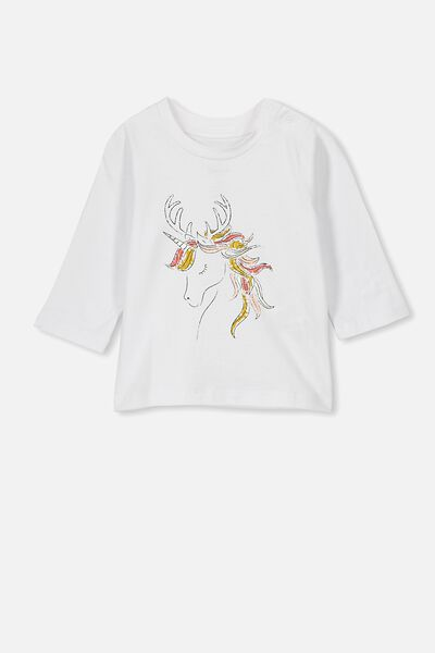 Jamie Long Sleeve Tee, WHITE/XMAS UNICORN