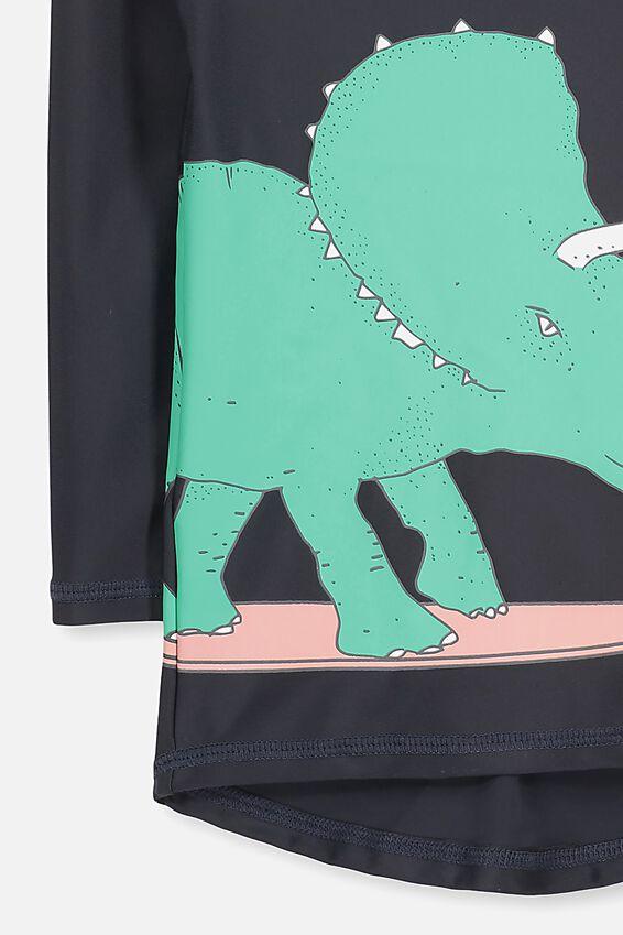 Fraser Long Sleeve Rash Vest, PHANTOM/SURFING DINO