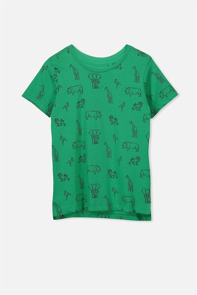 Max Short Sleeve Tee, SIMPLY GREEN SAFARI ANIMALS/SIS
