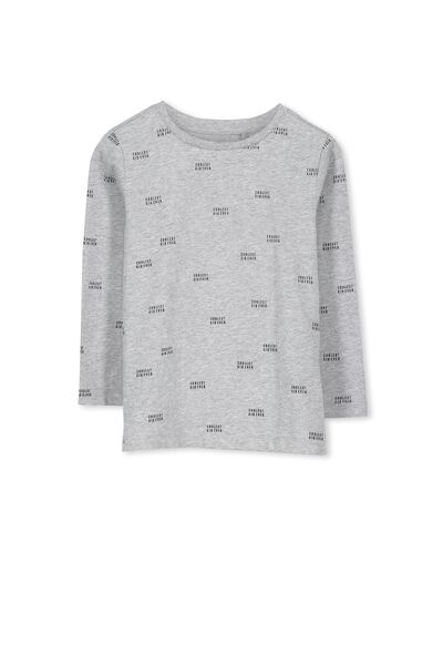 Tom Ls Tee, LT GREY MARLE/COOLEST KID
