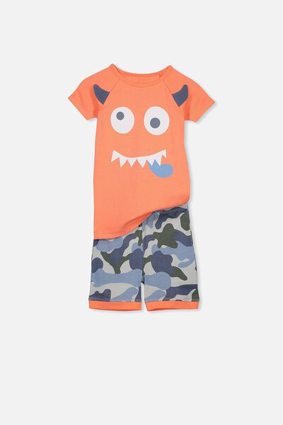 Ben Boys Short Sleeve Raglan PJ Set, CHEEKY MONSTER