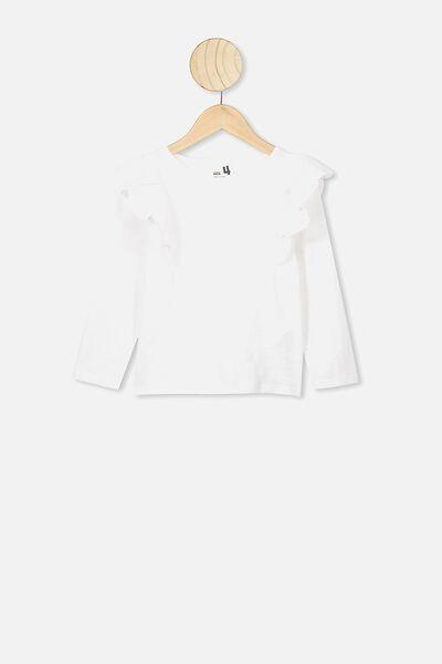 Sheri Long Sleeve Frill Top, WHITE