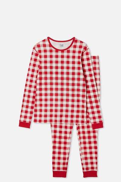 Jo Adults Unisex Long Sleeve Pyjama Set, RED GINGHAM VANILLA