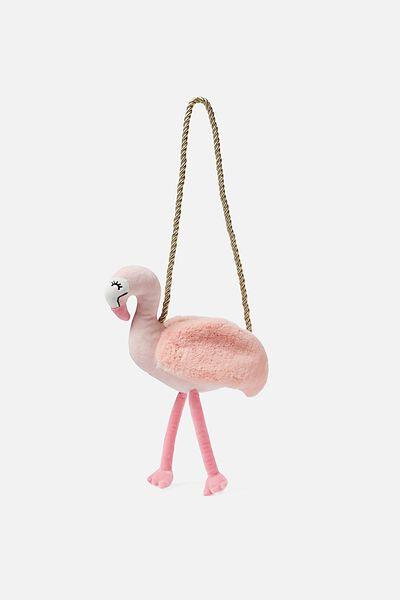 Plush Animal Bag, PINK FLAMINGO
