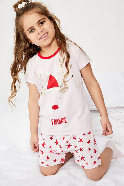 Harpa Ss Pj Set - Personalised, XMAS REINDEER STAR/PERSONALISED