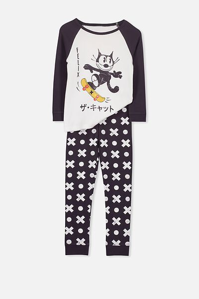 Jacob Boys Long Sleeve Raglan PJ Set, FELIX THE CAT/CROSSES