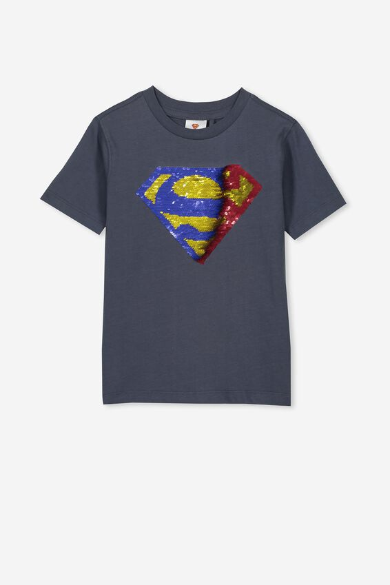 Co-Lab Short Sleeve Tee, LCN WB VINTAGE NAVY/SUPERMAN REVERSE