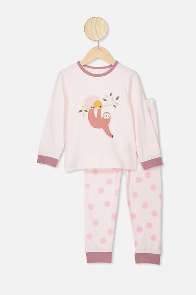 Florence Long Sleeve Pj Set, CRYSTAL PINK/HANGING SLOTH