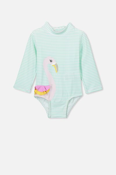 Malia Long Sleeve One Piece Swimsuit, EGGSHELL BLUE FLAMINGO FRILLS