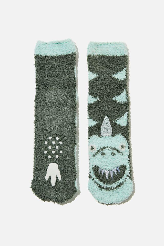 Slipper Sock, GREEN DINO