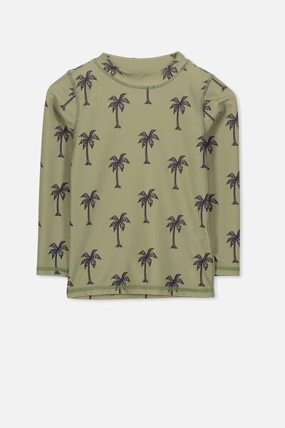 Fraser Long Sleeve Rash Vest, VINTAGE KHAKI/PALM TREES