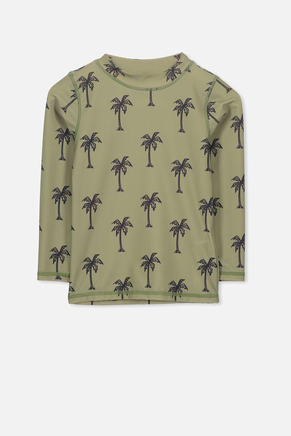 Fraser Long Sleeve Rash Vest, VINTAGE KHAKI/PALM TREES