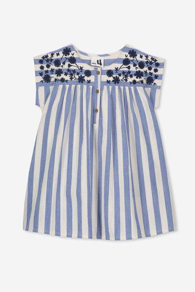 Penny Short Sleeve Dress, DUSTY BLUE/DARK VANILLA