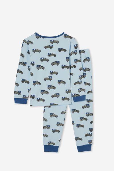Orlando Long Sleeve Pyjama Set, BEEP BEEP/WHITE WATER BLUE