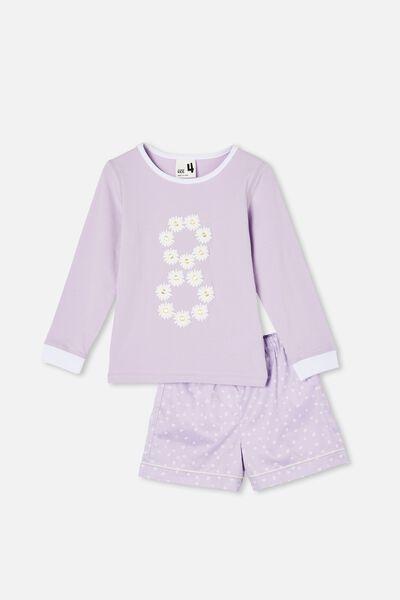 Chelsea Knit Woven Long Sleeve Pyjama Set, DAISY EIGHT/VINTAGE LILAC