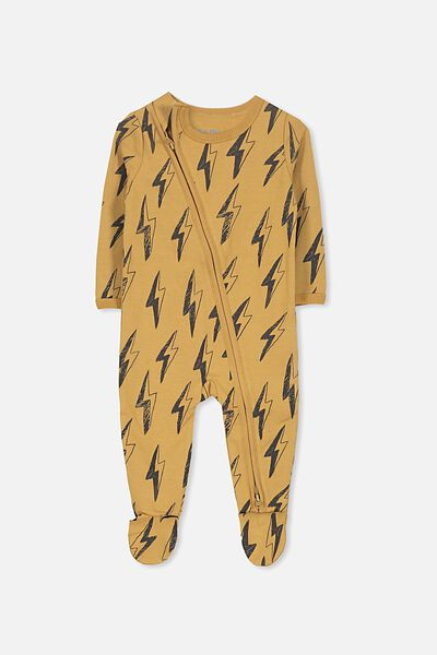 Sleep Mini Zip All In One Jumpsuit, BURNT BISCUIT/LIGHTNING