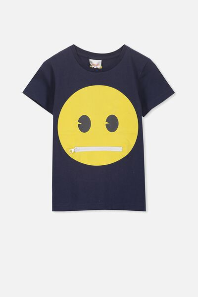 Short Sleeve License Tee, WASHED NAVY/TONGUE OUT EMOJI