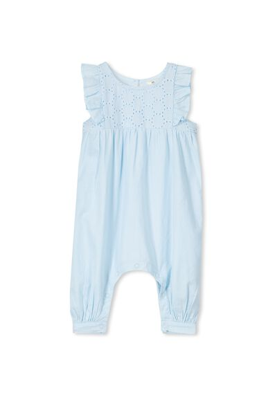 Anabelle Broderie Romper, ICY BLUE