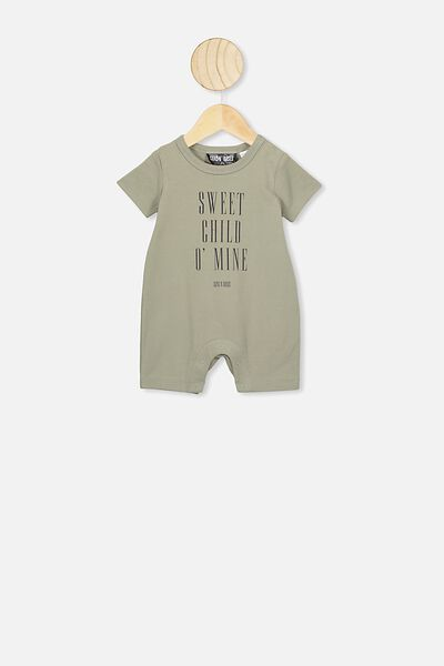 The Short Sleeve Romper, LCN BR GRAPHITE GREY/SWEET CHILD O'MINE