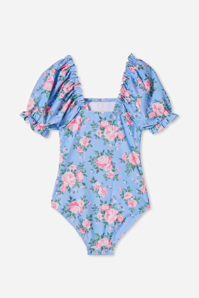 Paige Puff Sleeve One Piece, DUSK BLUE/WHITBY ROSE FLORAL