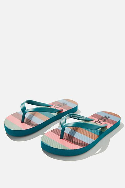 Printed Flip Flops, WIDE MULTI BLOCK STRIPE