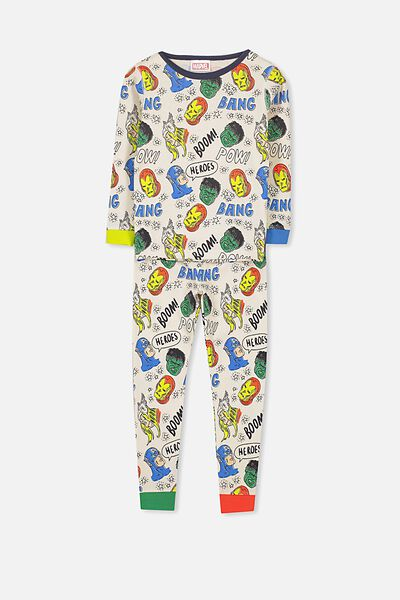 Harry Long Sleeve Boys PJ Set, LCN MARVEL AVENGER HEADS
