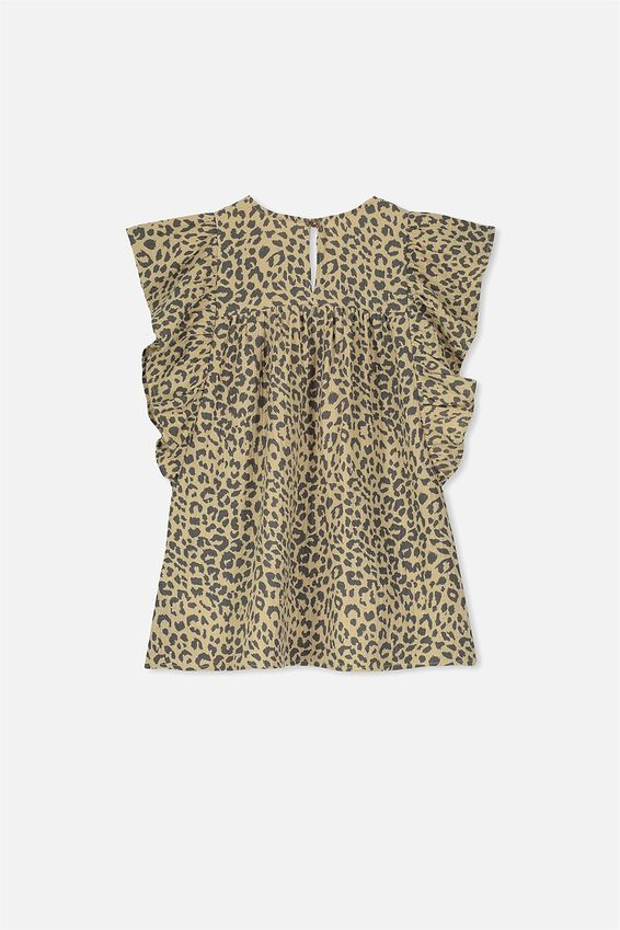 Maggie Short Sleeve Dress, SEMOLINA/LEOPARD