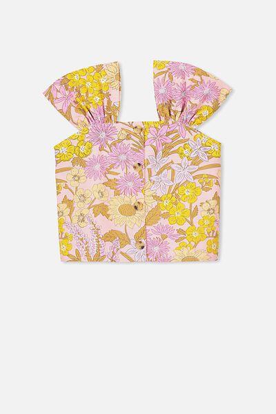 Paloma Ss Button Through Top, SWEET BLUSH/WILDFLOWERS