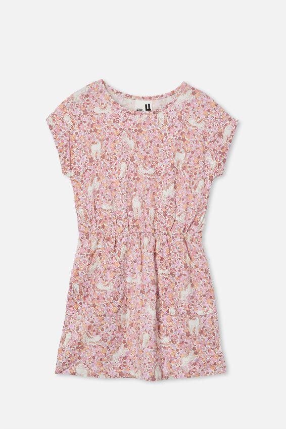 Sigrid Short Sleeve Dress, MARSHMALLOW/UNICORN GARDEN