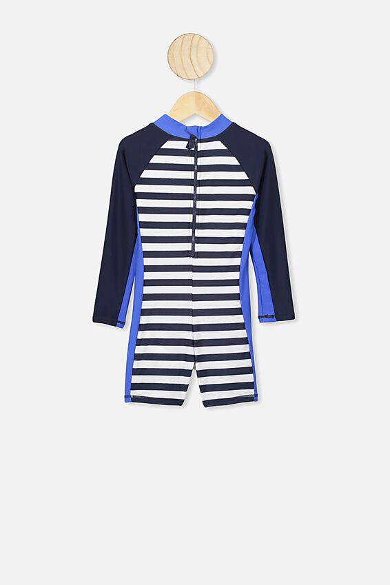 Oscar Ls All In One Swimsuit, STRIPE/WHALE