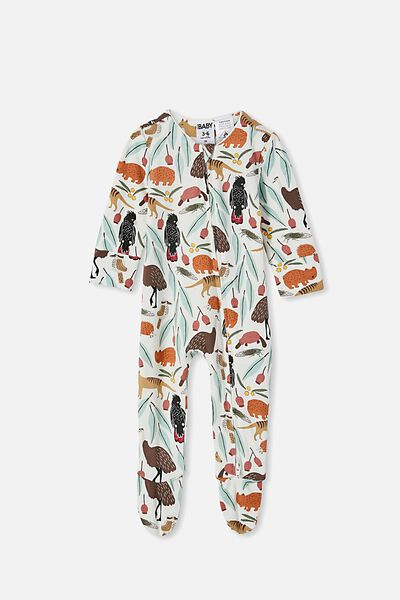 The Long Sleeve Zip Romper, VANILLA/OUTBACK MATES