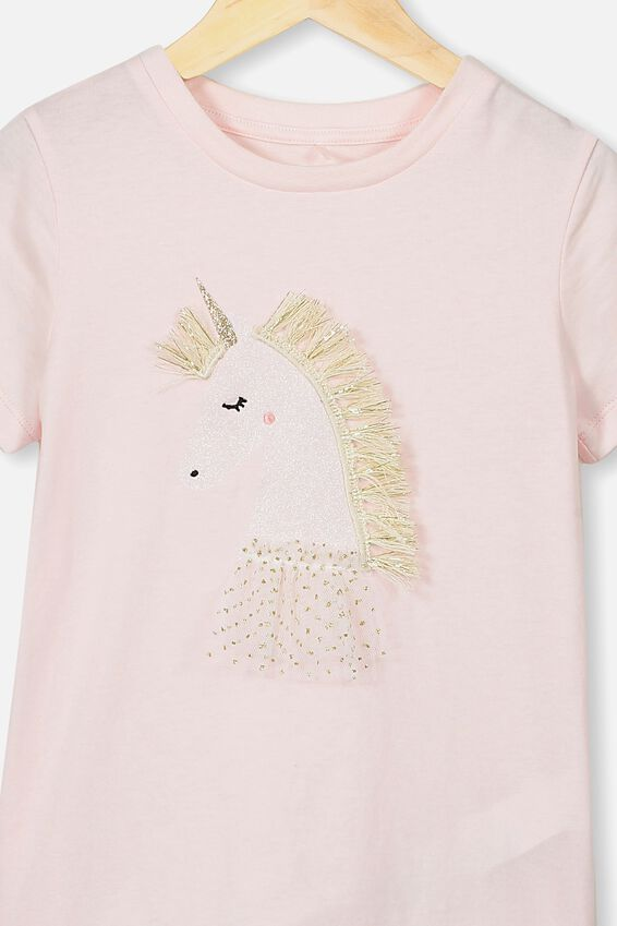 Stevie Ss Embellished Tee, CRYSTAL PINK UNICORN PRINCESS