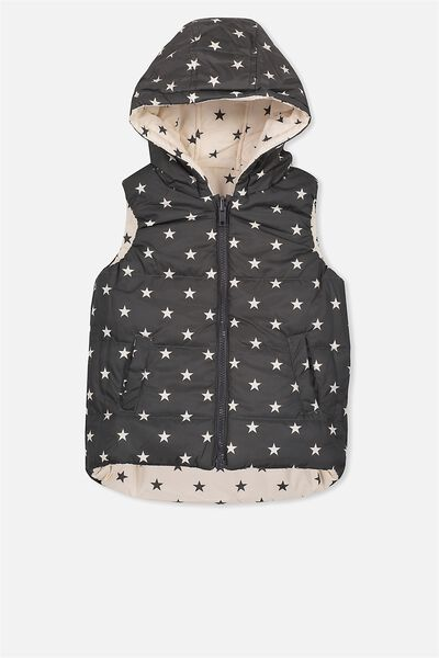 Rose Reversible Puffer Vest, EGGNOG/PHANTOM STARS