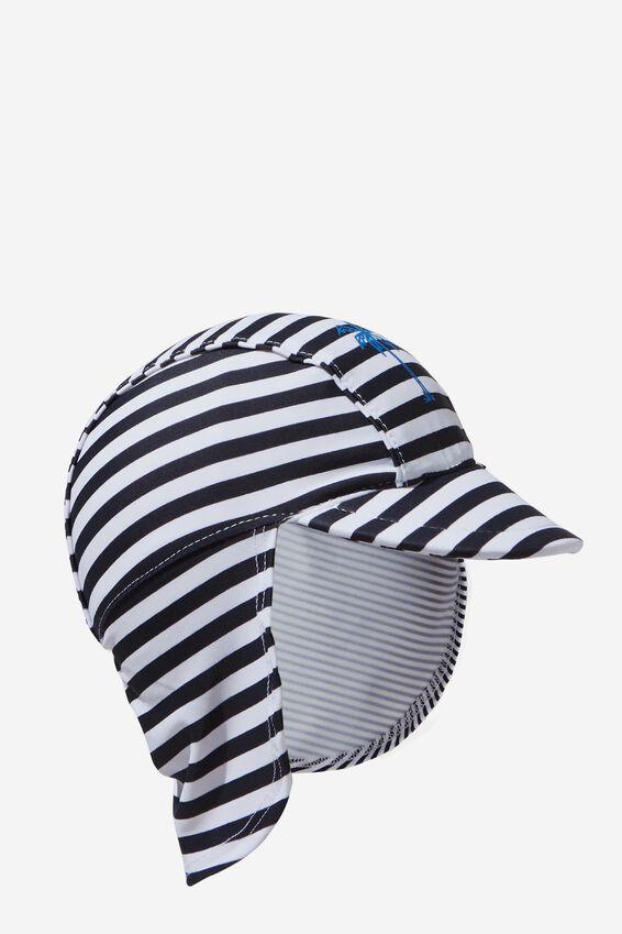Newborn Sonny Swim Hat, PALM STRIPE