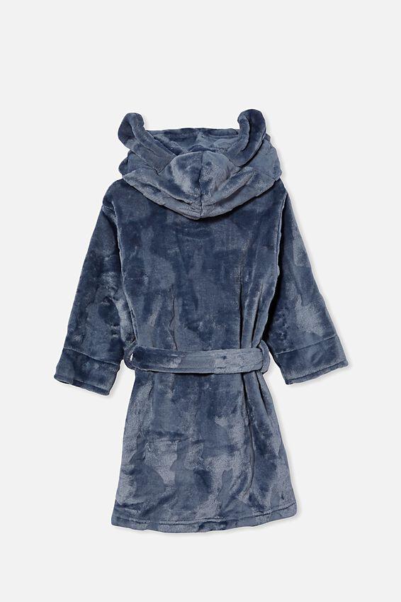 Boys Hooded Long Sleeve Gown, STEEL
