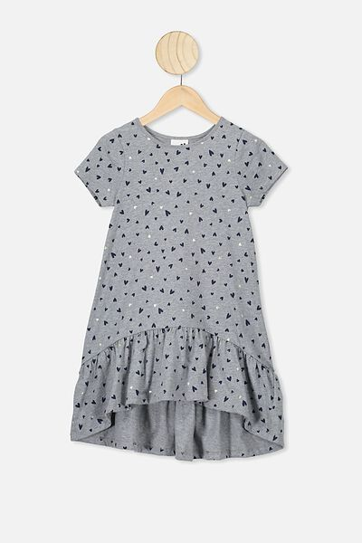 Joss Short Sleeve Dress, GREY MARLE/HEARTS