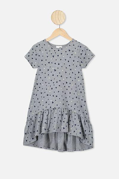 Joss Short Sleeve Dress, GREY MARLE/HEARTS