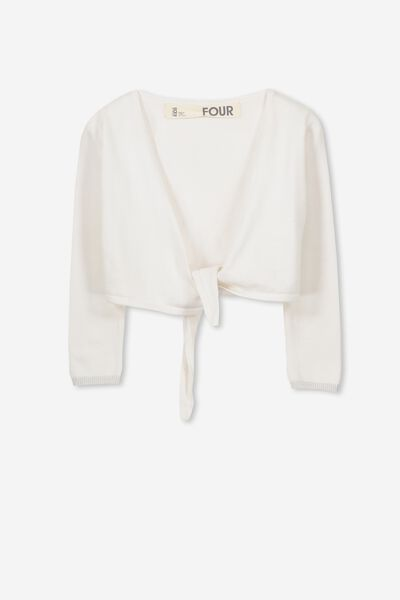 Annabelle Tie Front Cardigan, WHITE/SILVER