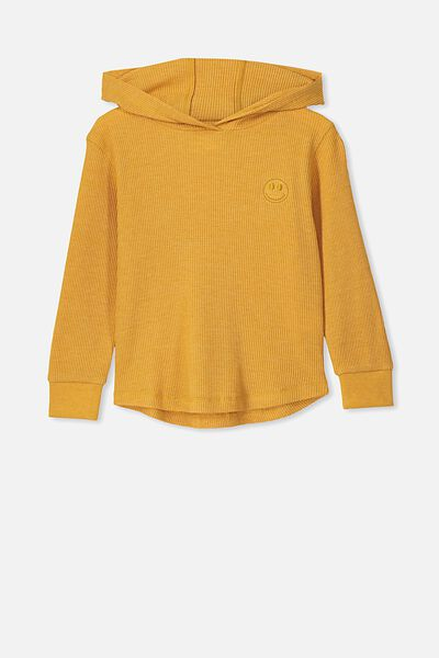 Hooded Long Sleeve Waffle Tee, HONEY GOLD MARLE/SMILEY