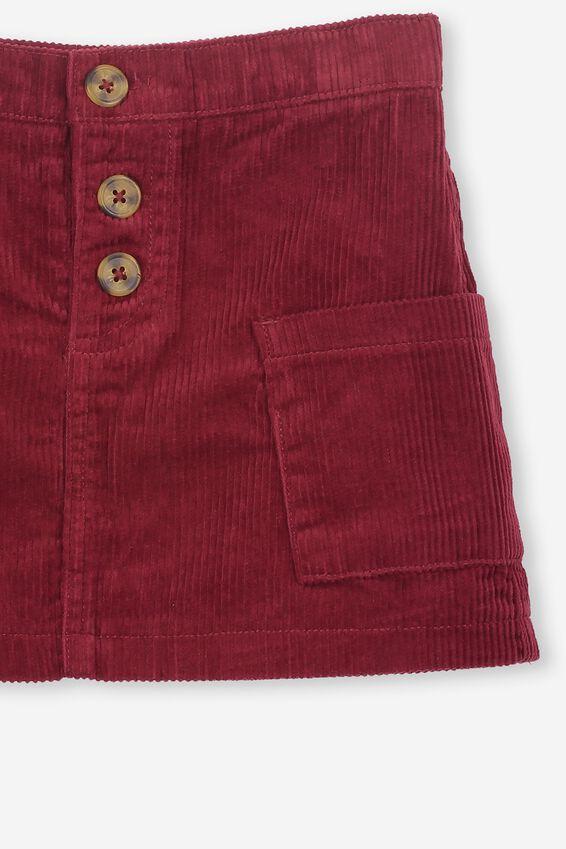 Rose Cord Skirt, TIEBETAN RED