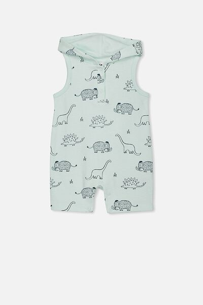 Riley Hooded Playsuit, MINTY BLUE/DINO MAMMOTH
