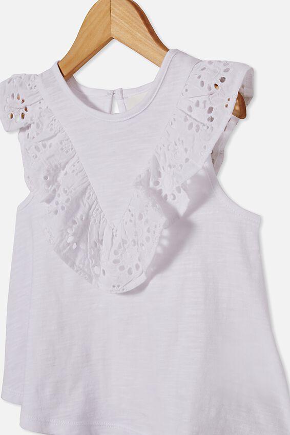 Juliette Short Sleeve Top, WHITE