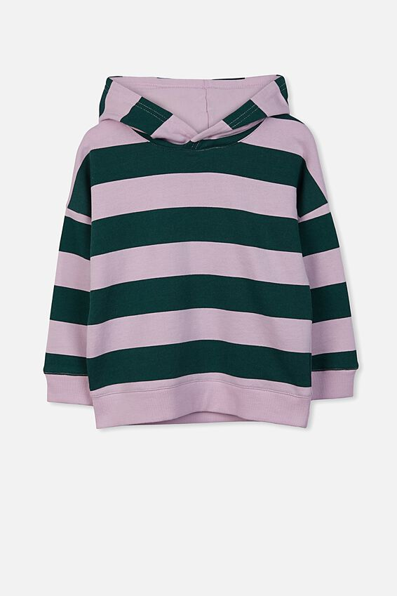 Scarlett Hoodie, LILAC SORBET BOTANICAL GREEN STRIPE/DROP SHOULDER