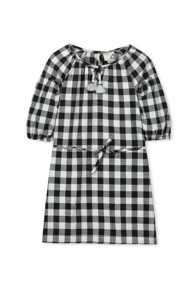 Ava Dress, BLACK/VANILLA GINGHAM