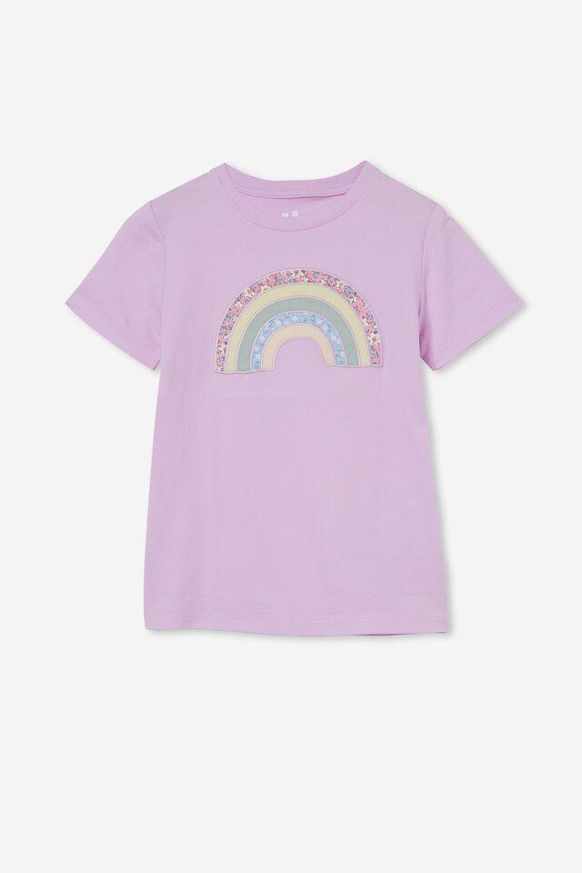 Stevie Short Sleeve Embellished Tee, PALE VIOLET/ PATCHWORK RAINBOW