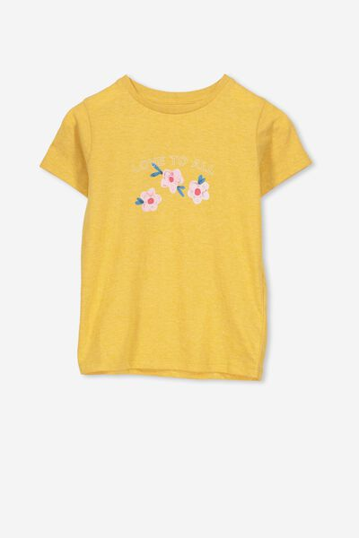 Penelope Short Sleeve Tee, GOLDEN ROD MARLE/LOVE TO ALL/MAX