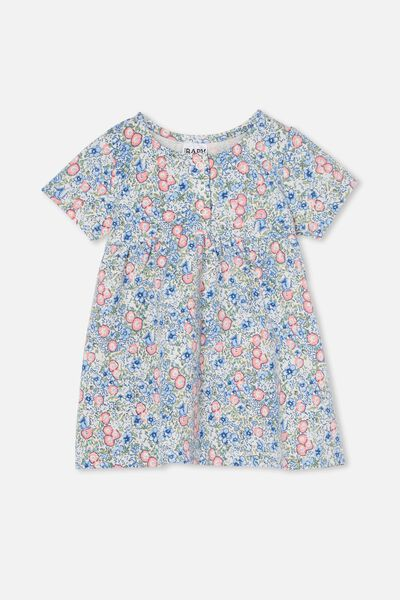 Milly Short Sleeve Dress, DARK VANILLA/DUSK BLUE ANNIE FLORAL
