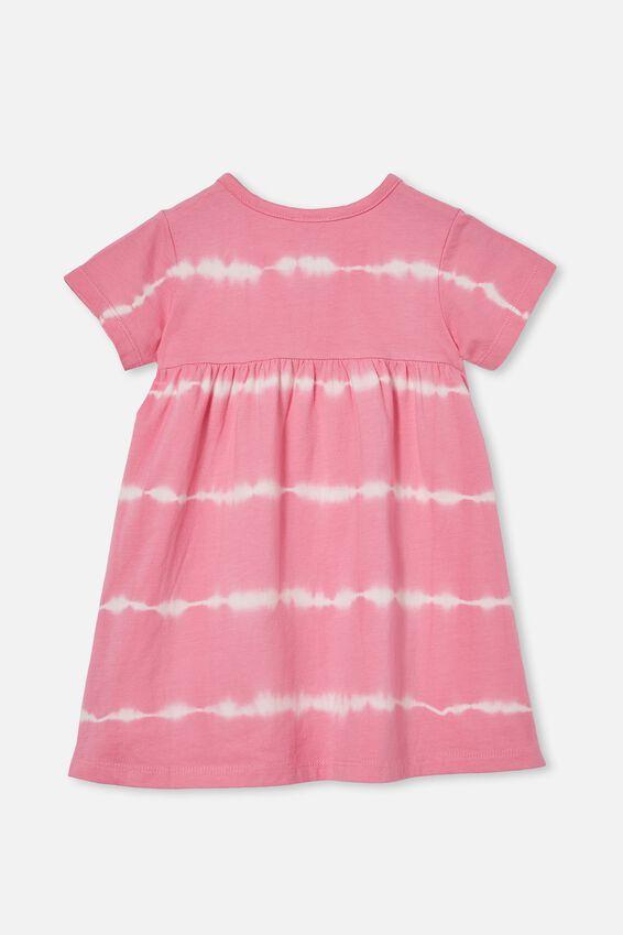 Kendall Short Sleeve Dress, PINK GERBERA LINEAR TIE DYE