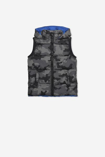 Billie Puffer Vest, BLACK CAMO