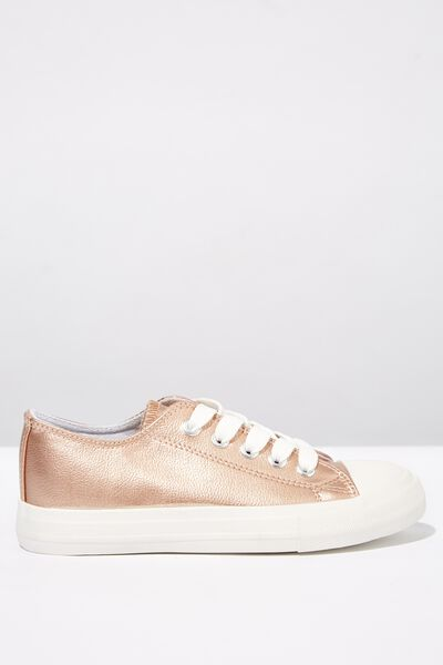 Classic Trainer Lace Up, ROSE GOLD METALLIC